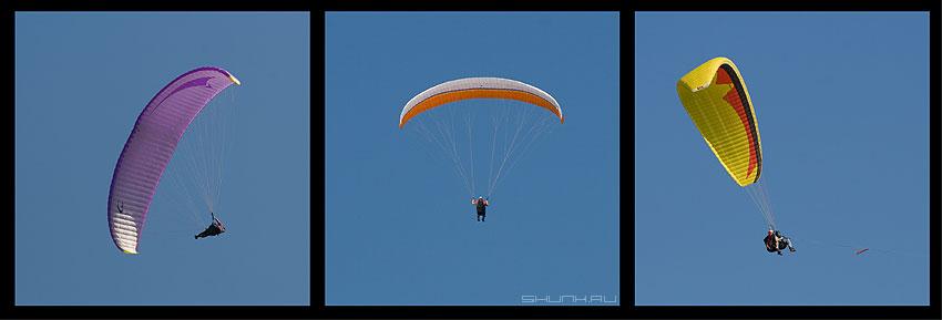 Парашютный коллаж - парашют три коллаж цвет небо фото фотосайт