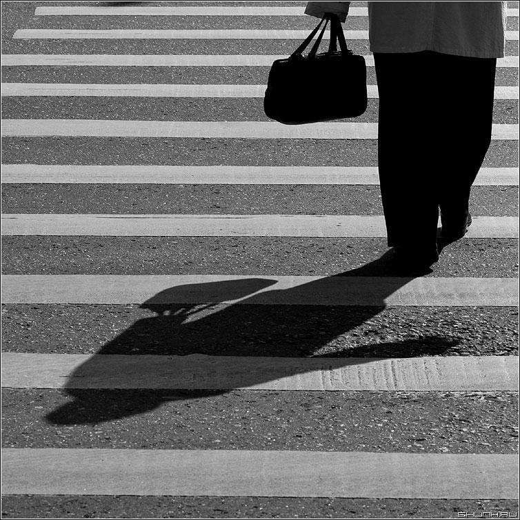 Тень да полоски - полосы тень переход бабушка квадрат чёрнобелая  сумка фото фотосайт