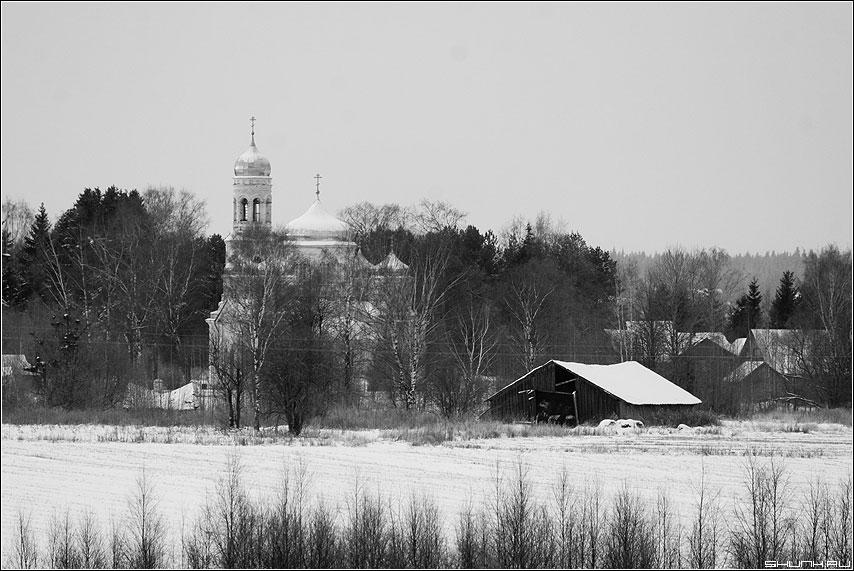 Где меня крестили... - храм деревня чёрнобелое лес деревья крыша фото фотосайт