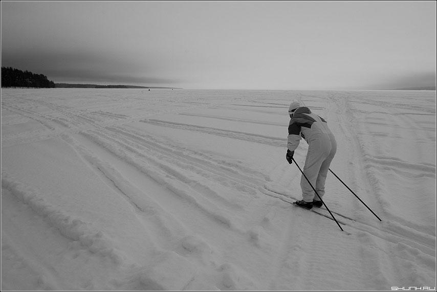 Про лыжника - зима чёрно белый лыжник палки карелия лед фото фотосайт