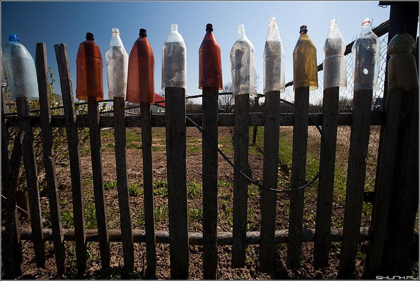Элементарные бутылки - забор деревня цветное бутылки фото фотосайт
