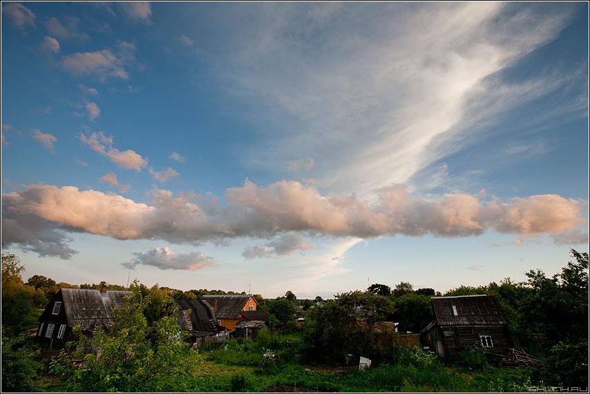 Небо 5 - небо тучи облака солнце свет панорама деревня шустиково фото фотосайт
