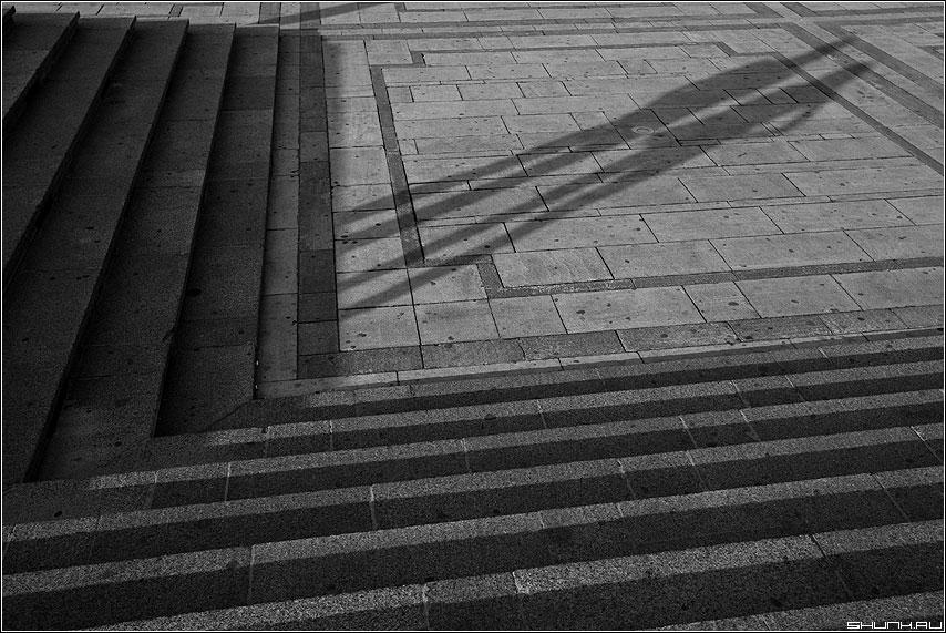 Теорема Каратеодори о непрерывной продолжимости конформного отображения жордановых областей друг на друга до гомеоморфизма их замыканий - тени ступени чёрнобелые манежка манежная площадь чёрно-белые теорема фото фотосайт