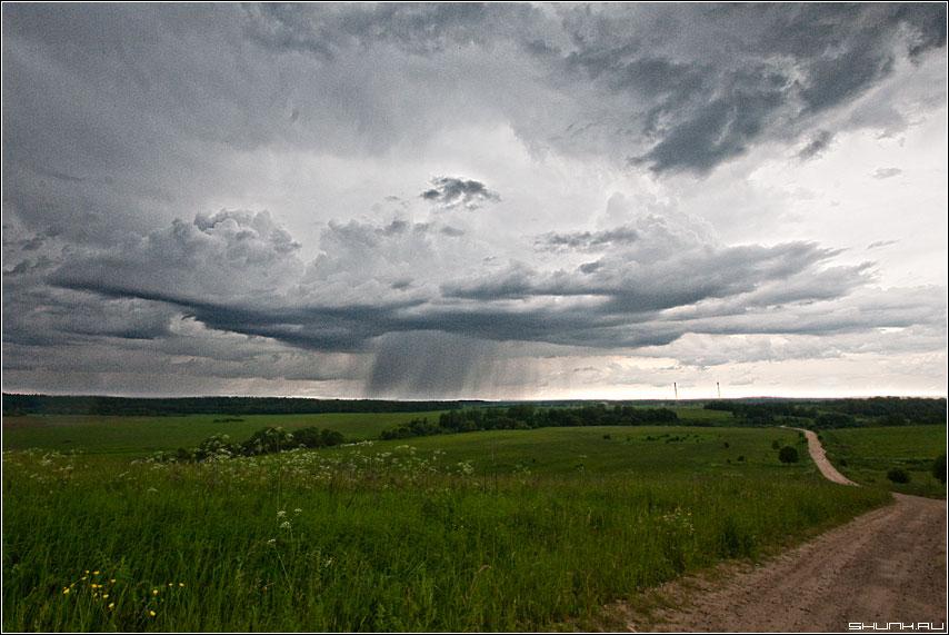 Локальные дожди - дождь тучка облако дорога вышгород деревня фото фотосайт