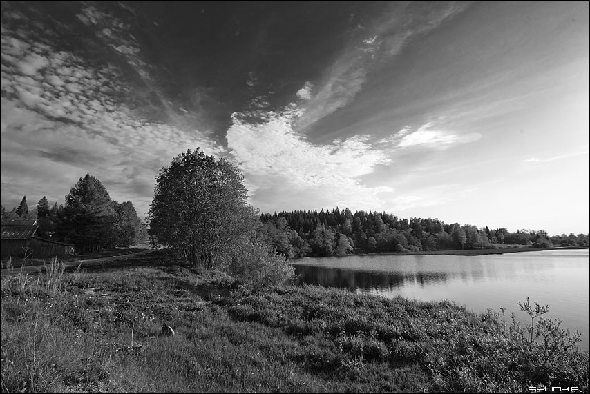 Небо 12 - небо талоожня речка трава чёрнобелое пейзаж фото фотосайт