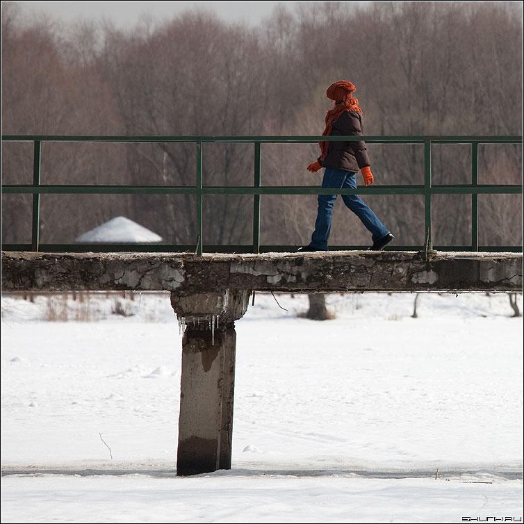 Идти - мост бор серебрянный девочка шаг квадратное фото фотосайт