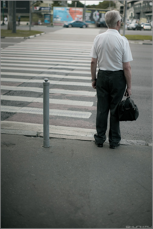 Среднестатистический пешеход 3 - переход пешеход мужик столб светофор улица moon фото фотосайт