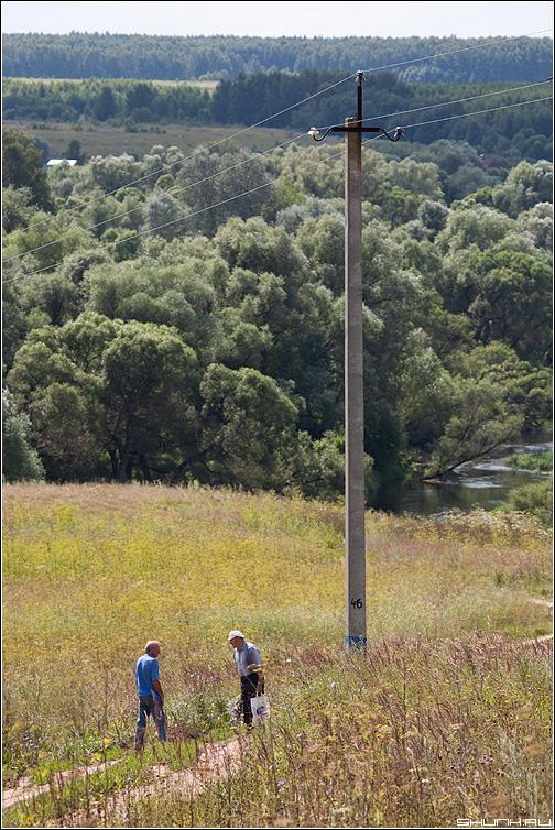 Случайный разговор - деревня дорога столб мужики разговор поле трава август фото фотосайт