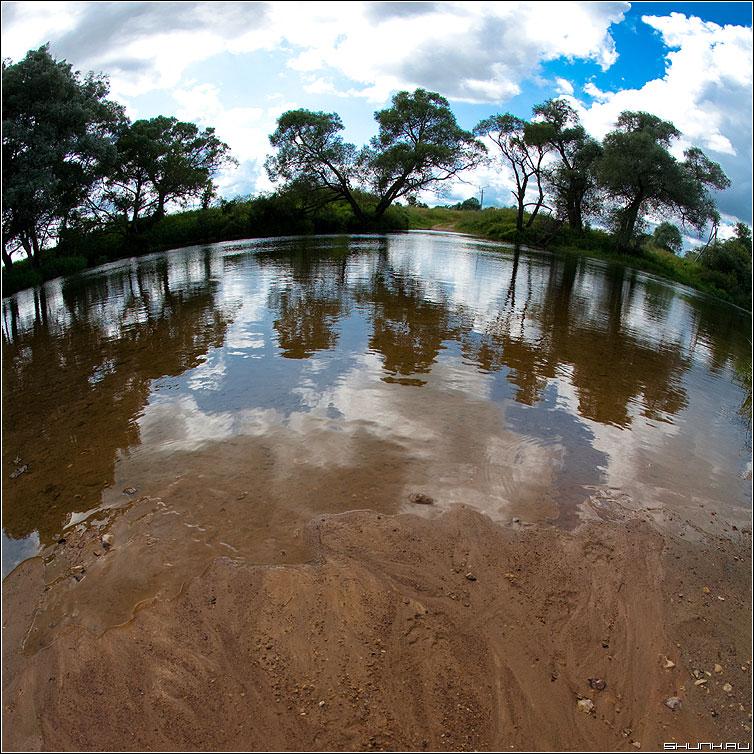 Копернику посвещая - фишай рыбийглаз круглая небо речка деревья искажения фото фотосайт