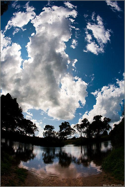 Люблю я небо таким - небо деревья речка деревня контраст цвет фото фотосайт