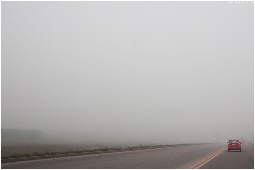 Туманы - осень туман дорога машинка красная полоса сплошная временная минка ремонт фото фотосайт