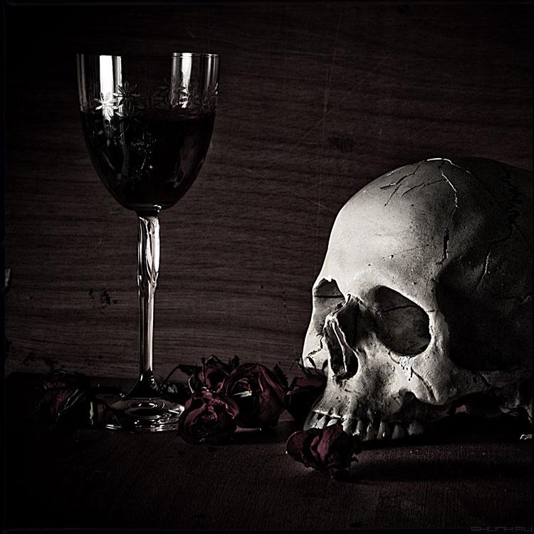 Выпей Йаду - череп вино бокал натюрморт среднийформат стилизация фото фотосайт
