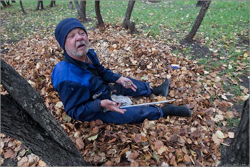 Осенний привет питерским коллегам - бомж листва осень костюм разговор фото фотосайт