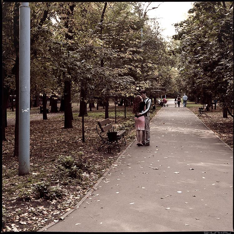 Осенний поцелуй - осень парк онона парочка квадратное стилизация среднийформат фото фотосайт