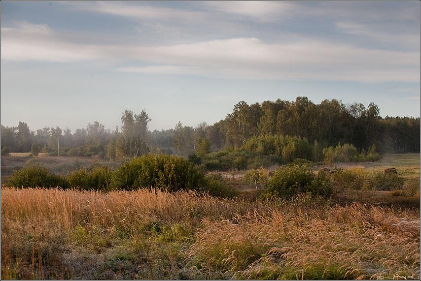 Осенний пейзажик - осень вид пейзаж деревня краски желтое фото фотосайт