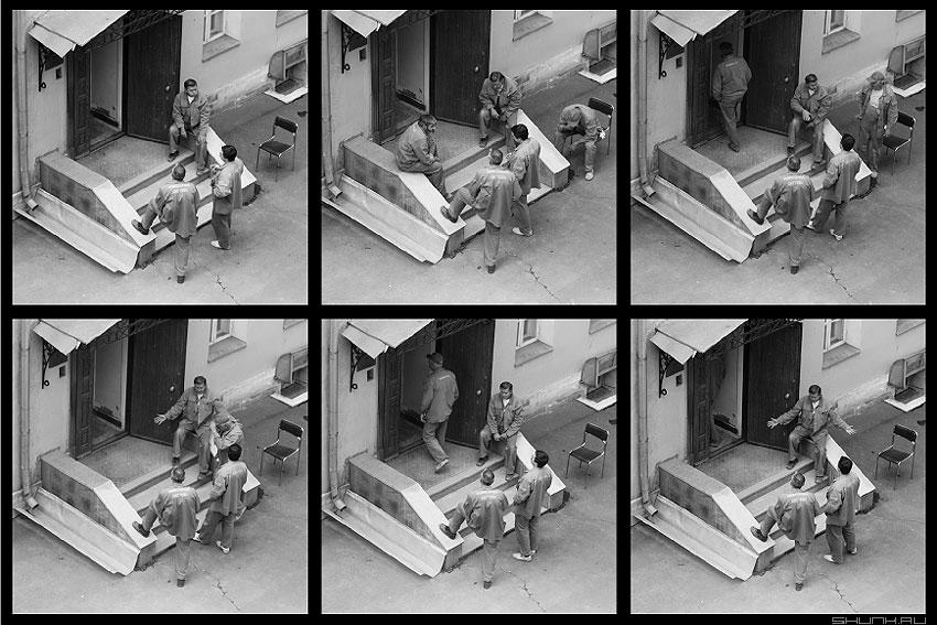 История одного стула - стул мужики рабочие коллаж подборка чёрнобелое фото фотосайт