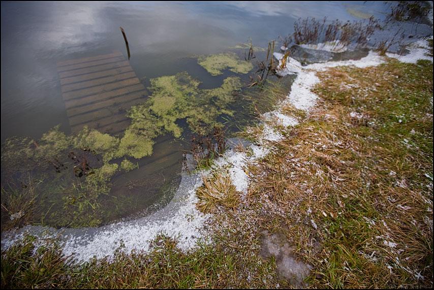 Первый снег в моей деревне (вариант) - мостик деревня осень снег берег шустиково вода пруд фото фотосайт