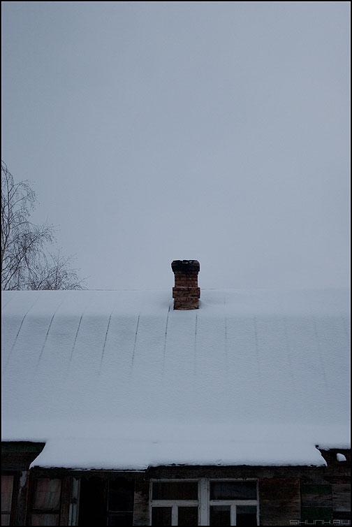 Дым из трубы? - деревня труба дом снег крыша фото фотосайт