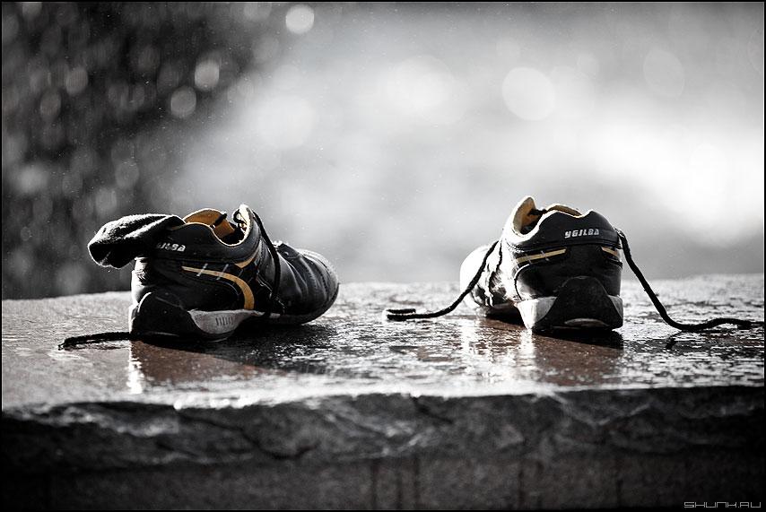 Купаться - ботинки кросовки фонтан манежка элементы уличное шнурки купаться фото фотосайт