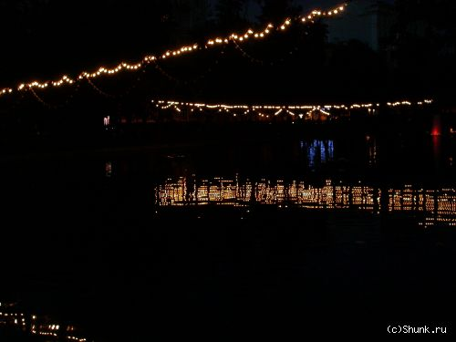 Огни - огни вода отражение вечер фото фотосайт