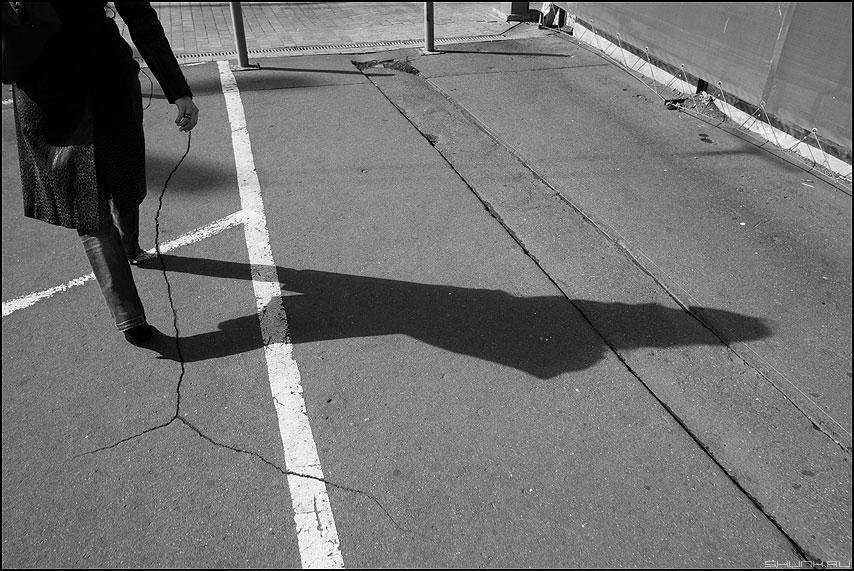С веточкой в руке - монохромное веточка трещина тень уличное фото фотосайт