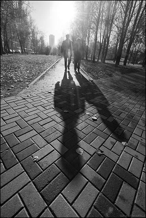Монохромная пара - он она пара парк тени свет монохромное фото фотосайт