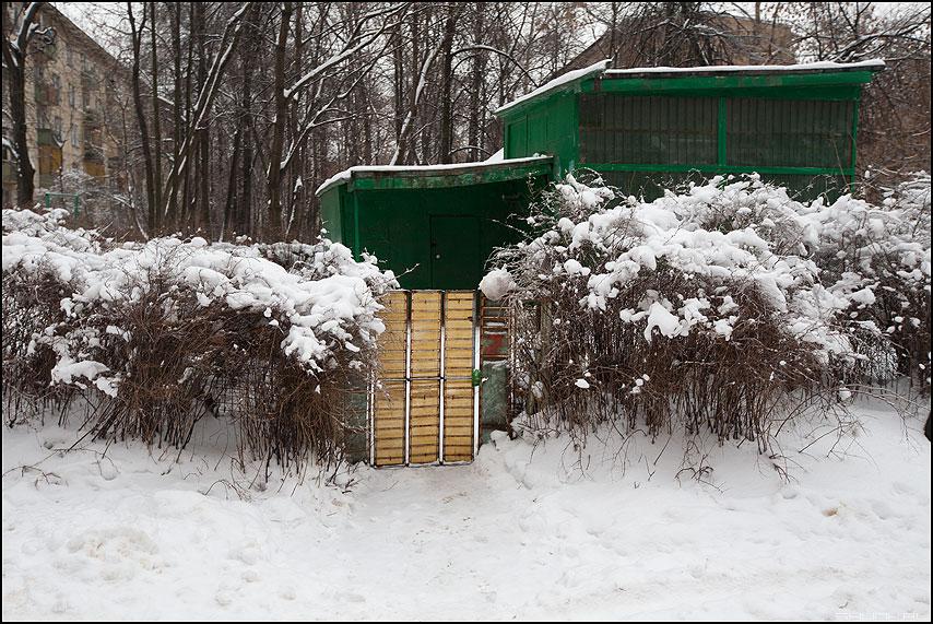 Ватное - вата снег кусты дверь голубятня дворовое фото фотосайт