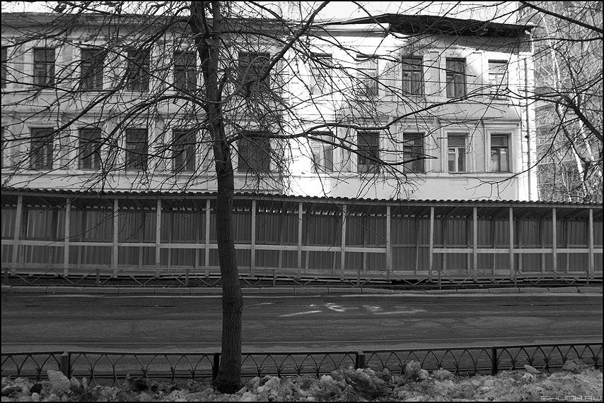 * * * - монохромное забор ремонт свет дерево уличное фото фотосайт