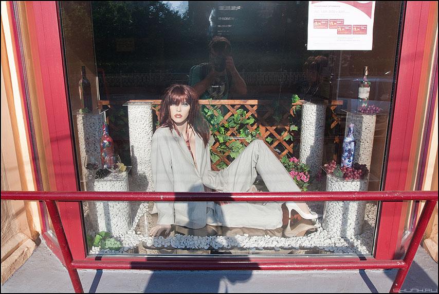 Барышни леги и просят... - витрина манекен барышня отражение уличное фото фотосайт
