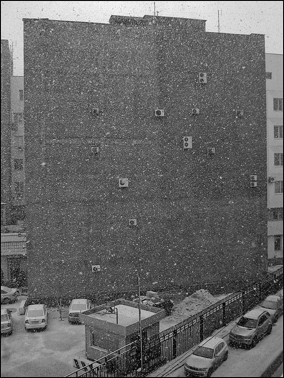 Снег идет, а снег идет - снег стена монохром гибдд кондеи фото фотосайт