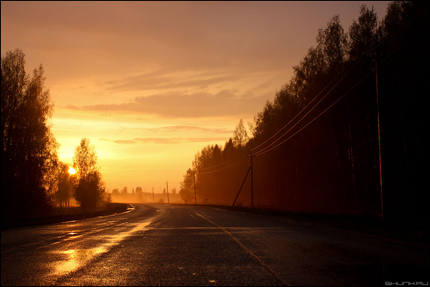 Дорожный закат - дорога закат провода солнце лужи фото фотосайт