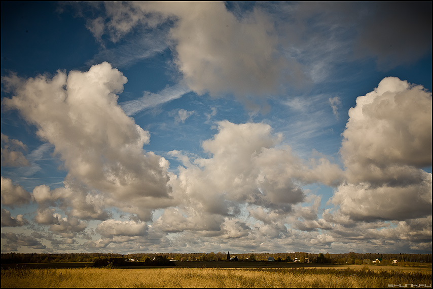 * * * - небо облака много поле деревня шустиково фото фотосайт