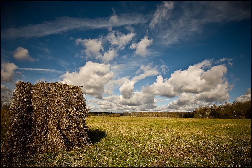 Небесная катушка - небо поле солома сено катушек обработка фото фотосайт