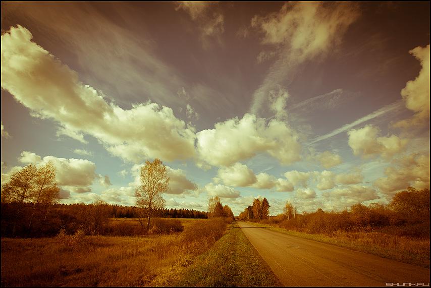 Небо над Александровкой (вариант) - небо облачка солнечно морозно лайтрум обработка пресет фото фотосайт