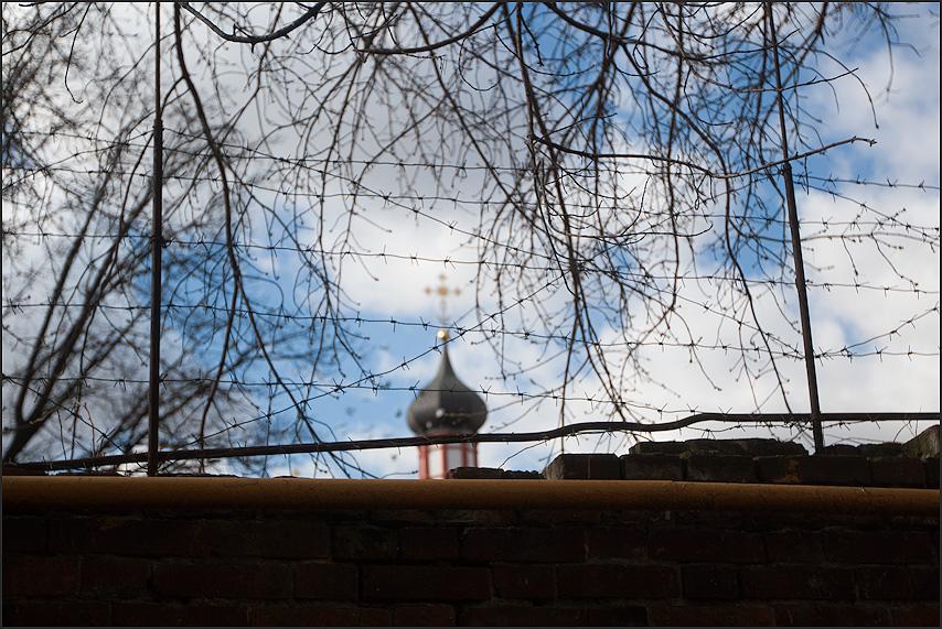 Россия одним фото - колючка вера церковь крест забор небо фото фотосайт