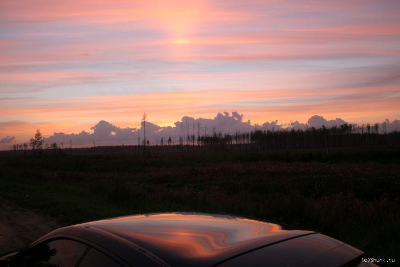 Отражение заката - закат небо лес фото фотосайт
