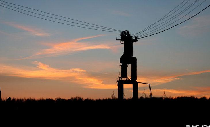 Трансформаторный закат - провода небо закат трансформатор фото фотосайт