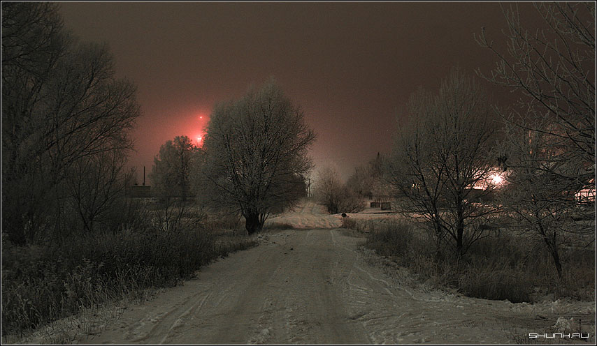 Огни вышки - ночь зима деревня фото фотосайт