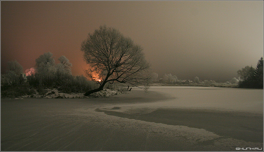 Замерзший пруд - зима деревня пруд дерево огни фото фотосайт